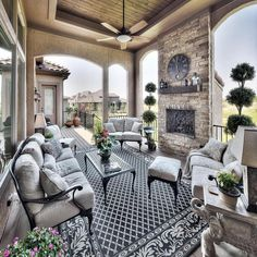 Outdoor living: covered lanai, covered porch, vaulted ceiling, entertainment space, outdoor fireplace @starrhomes
