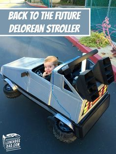 Back to the Future Delorean Halloween Stroller Costume by Lunchbox Dad Stroller Halloween Costumes, Stroller Costume, Car Costume, Homemade Halloween Costumes, Family Halloween Costumes, Baby Halloween Costumes, Halloween Kostüm, Baby Costumes, Costume Ideas