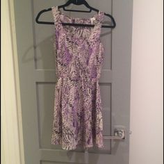 Urban Outfitters Open Back Skater Dress Purple/grey printed dress with open back and cinched waist Urban Outfitters Dresses