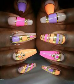 Orange pink purple nails  nailart design @swan_nails