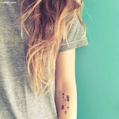 Lovely Arm Tattoo Of Three Arrow For Cool Girl