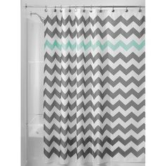 InterDesign Chevron Shower Curtain - Gray/Aruba