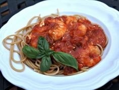 Greek Style Shrimp Pasta by A Healthy Slice of Life