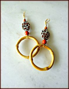 Bamboo Leopard Print Hoop Earrings Wooden by KheperaAdornments