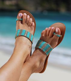 Travel in Style with Aspiga's Handmade leather sandals and luxury beachwear. Beaded Sandals, Shoes Sandals, Greek Sandals, Cute Shoes, Me Too Shoes, Turquoise Sandals, Quoi Porter, Fall Shoes, Crazy Shoes