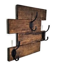 This Recycled Wood Wall-Mount Coat Rack is what your entryway, mudroom, hallway, laundry room or bathroom has been missing! With a distressed, five plank wood base and three robust double hooks screwe Wooden Wall Hooks, Wooden Walls, Entryway Coat Rack, Wall Mounted Coat Rack, Wall Coat Rack, Hanging Coat Rack, Coat Hooks On Wall, Plank Walls, Diy Holz