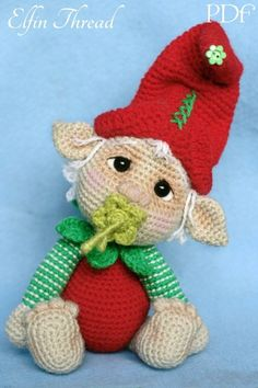 Elfin Thread- Gribin, The Baby Elf Amigurumi PDF Pattern (Elf Pixie Corchet pattern) by ElfinThread on Etsy Crochet Cupcake, Cute Crochet, Crochet Dolls, Crochet Baby, Christmas Crochet Patterns, Holiday Crochet, Amigurumi Patterns, Amigurumi Doll, Kobold