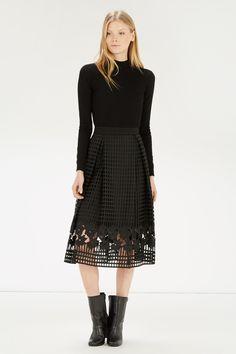 Skirts | Black GRID LACE SKIRT | Warehouse