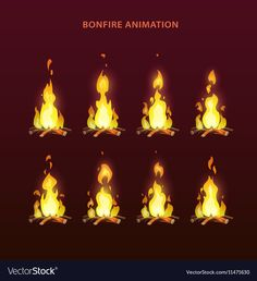 Bonfire animation sprites, vector flame video frames for game design. Fire Animation, Animation Reference, Art Reference, Moe Manga, Moe Anime, Free Vector Art, Free Vector Images, Storyboard, Game Design