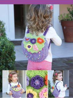 Mochila infantil al #crochet descarga el paso a paso en www.eviadigital.com #patron #ficha
