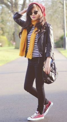 Burgundy Converse and Beanie:) Love! 70s Outfits, Converse Outfits, Maroon Converse Outfit, Chic Outfits, Travel Outfits, Yellow Jacket Outfit, Leather Jacket Outfits, Leather Jackets, Beanie Outfit