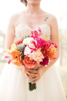 Pink and Orange Bridal Bouquet