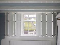 Bay Window Shutters, Indoor Shutters, Wood Shutters, Sliding Room Dividers, Diy Room Divider, Interior Shutters, Interior Windows, Kitchen Window Bar, Window Bars