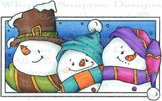 Snowman Triplets - Snowmen Images - Snowmen - Rubber Stamps