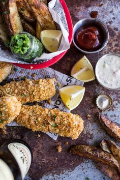 Potato Chip Crusted Fish and Chips...with all the fixings, a new twist on the fried classic, from halfbakedharvest.com