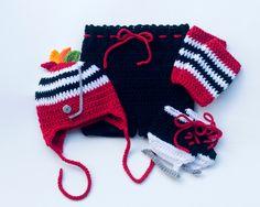 Grandmabilt BABY HOCKEY OUTFIT, Chicago Blackhawks Paci Not Included, Hockey Baby Pants Socks Skates, Red Black Hockey, Baby Hockey Skates by Grandmabilt on Etsy