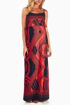 Red-Black-Printed-Maternity-Maxi-Dress $37