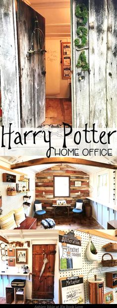 A teacher's Harry Potter home office. A budget remodel with lots of Harry Potter decoration and classroom ideas. Super cute Hagrid's Hut inspired outdoor office!