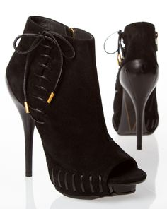 Suede black booties with lace up – Shoes Fashion   Latest Trends e35f66942579