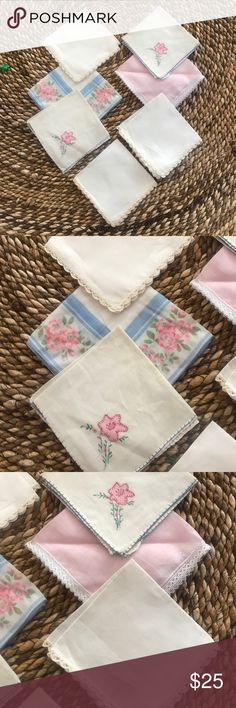 VTG Bridal Party Handkerchiefs These are beautiful classic pieces. Perfect to add to their gift package!!!! To have and to hold. During the creaming and for many years to come. And to always remember your special day. 🌸 if you need a few more I have a few more that would match nicely🌸 Vintage Accessories