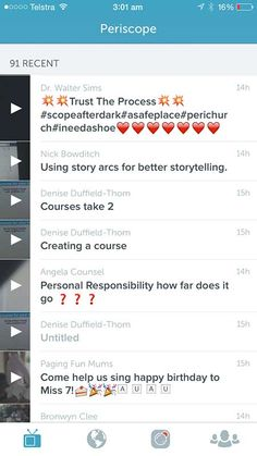 Examples of Great Titles from a Persicope feed - 21 Periscope Tips for Winning Broadcasts