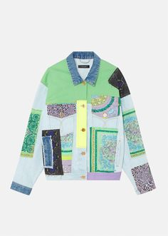 Patchwork Jeans, Patchwork Dress, Gianni Versace, Sweater Sale, Wool Sweaters, Denim Jacket Sale, Jackets For Women, Sweaters For Women, Jacket Pattern