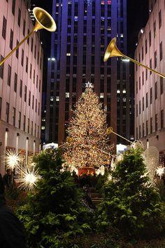 Christmas tree at Rockefeller Center, New York City.