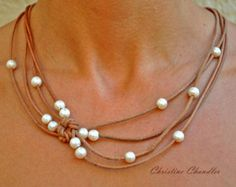 Items similar to Pearl and Leather Sterling Silver Lariat Necklace - Pearl and Leather Jewelry Collection on Etsy