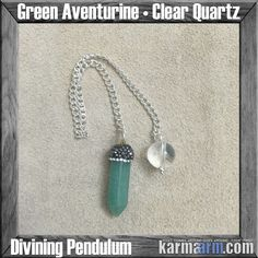Divining Pendulum: Green Aventurine • Clear Quartz