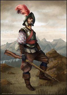 Spanish Conquistador, Sam Cullum on ArtStation at https://www.artstation.com/artwork/spanish-conquistador