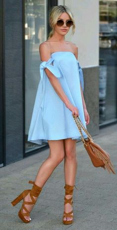 30 Chic Summer Outfit Ideas - Street Style Look. The Best of fashion trends in - Daily Fashion Outfits Cute Dresses, Short Dresses, Cute Outfits, Chiffon Dresses, Baby Blue Dresses, Sexy Summer Dresses, Trendy Dresses, Beautiful Outfits, Girl Outfits