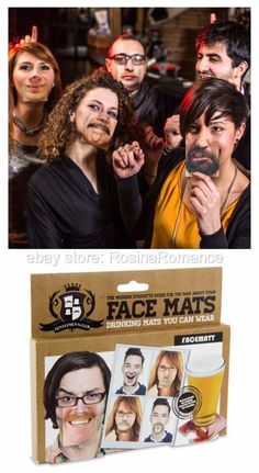 (£7.99 - FREE POSTAGE) Ever fancied a change in your appearance? Well clip a mat to your nose and see how you'd suit a luscious moustache! This set of cardboard face mats contain 20 double-sided mats (that's 40 hilarious images to change your appearance). #Pub #Coasters #BeerMats #Funny #FaceMats #Party