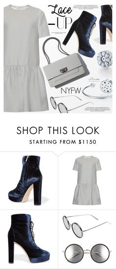 """""""Lace It Up"""" by totwoo ❤ liked on Polyvore featuring Jimmy Choo, Valentino and Linda Farrow"""