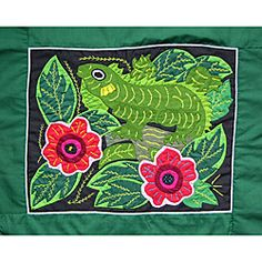 @Overstock - This unframed mola comes in bright colors on a green background depicting an Iguana and was entirely hand-stitched by Kuna women of the San Blas Islands in Panama. Multi-layered fabric tapestries like this piece can brighten any wall. $56.99