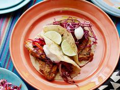 Grilled Chipotle Pork Tacos with Red Slaw recipe from Food Network Kitchen via Food Network