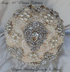 BEAUTIFUL 10 SATIN JEWELED BRIDAL BROOCH BOUQUET - $425.00 FULL PRICE  ________________________________________  **** SUMMER PROMO PRICING