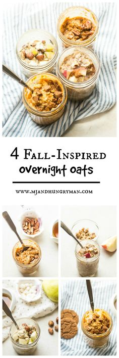 4 savory and sweet fall-inspired overnight oats (with pumpkin, apple, pear)