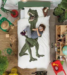 Snurk® dekbedovertrek met dinoprint. Ideaal voor in een jongens kinderkamer.  Afmeting 140 x 220 cm