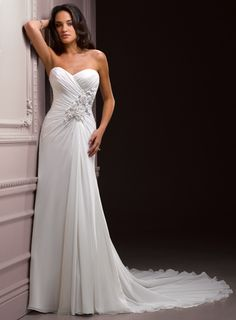 A-line Floor-length Chiffon bridal gown with Ruffle embellishment
