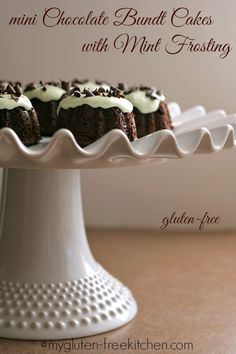 Mini Chocolate Bundt Cakes with Mint Frosting (Gluten-free)