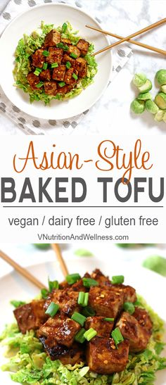 Asian Baked Tofu with Shaved Brussels Sprouts |  You won't need takeout with this tofu recipe! vegan, gluten-free, dairy-free, dinner recipe via @VNutritionist