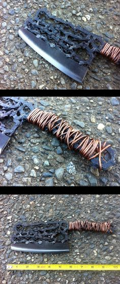 Hand formed from an old chainsaw blade with joints all welded, this dainty looking cleaver can actually be used in the kitchen. The chain is forged and hammered for strength. The handle is double wrapped in pure copper rod. The blade, made from a recycled file, tempered, sharpened and treated with food safe oil. All mig welded together to form an extremely sturdy & robust piece of culinary, carnage creating cutlery! Find out more >>