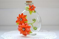 Flower Bottle  OOAK Flower Decor  Polymer Clay by CraftyClayStudio