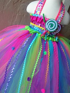 Candyland tutu dress-Candy land tutu dress- candy land party birthday dress via Etsy Diy Tutu, No Sew Tutu, Candy Costumes, Diy Costumes, Halloween Costumes, Candyland, Candy Land Theme, Girl Birthday, Birthday Parties