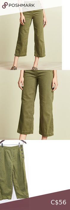 Shop Women's Free People Green size 10 Flare & Wide Leg at a discounted price at Poshmark. Description: Wide leg light denim material Rise Waist Inseam Width Sold by suburbanstyling. Cropped Pants, Khaki Pants, Free People Jeans, Plus Fashion, Fashion Tips, Fashion Trends, Light Denim, Cool Items, Flare Jeans