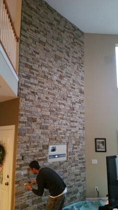 Ghc professional restoration  Airstone mix Airstone Wall, Fireplace Remodel, Fireplace Ideas, Brick And Stone, Home Reno, House Goals, Living Room Inspiration, Interior Decorating, Decorating Ideas