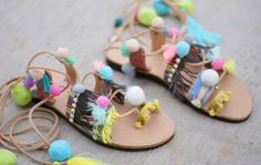 Gladiator tie up pom pom pal-colored Genuine leather sandals Gladiator Sandals, Leather Sandals, Boho, Trending Outfits, Unique Jewelry, Handmade Gifts, Greek, Etsy, Shoes