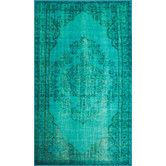 Found it at AllModern - Remade Distressed Overdyed Turquoise Area Rug