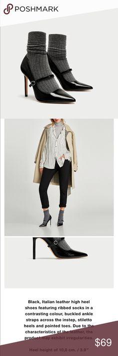 Sock Style High Heel Court Shoes, NWT Sock Style High Heel Court Shoes, NWT Leather Upper is cow 🐮 Leather Zara Shoes Heels