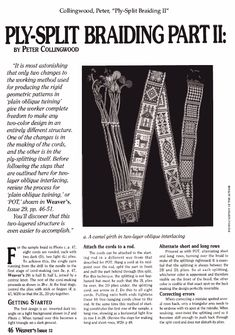 Ply-Split Braiding II - Weaving Digital Archive Item - Handweaving.net Hand Weaving and Draft Archive